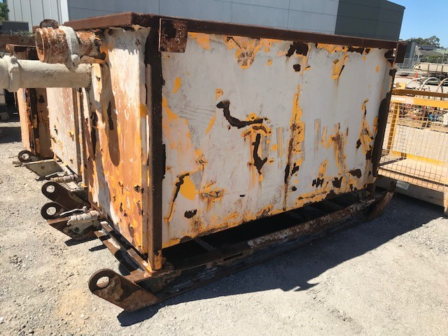 1x Liquid Bin Mild Steel Construction with inlet and outlet and Central