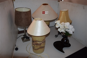 Lot of 4 Assorted Table Lamps and Sundri