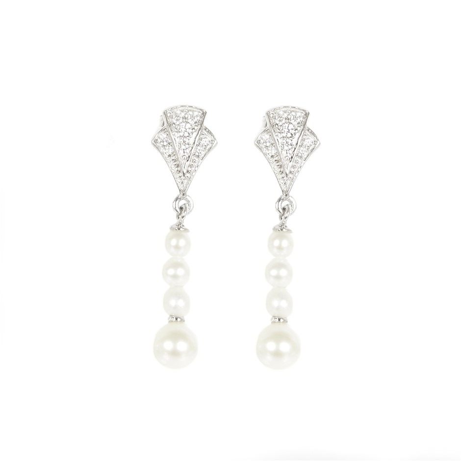 A Pair Of Freshwater Pearl & Cubic Zirconia Set Sterling Drop Earrings