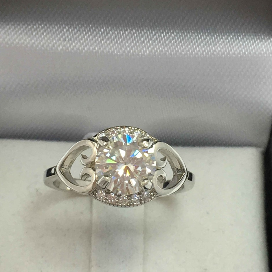1.27ct Moissanite and Cubic Zirconia Ring