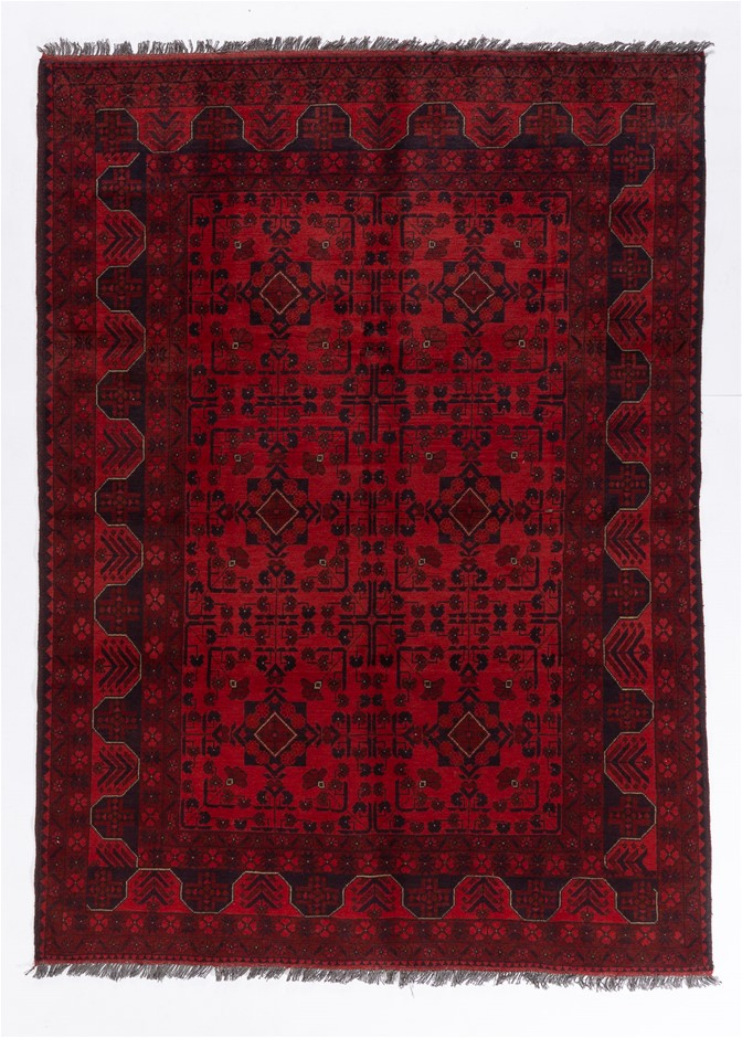 Afghan Khal Mohomadi Tribal Hand Knotted Pure Wool Pile Size (cm):175 x 240
