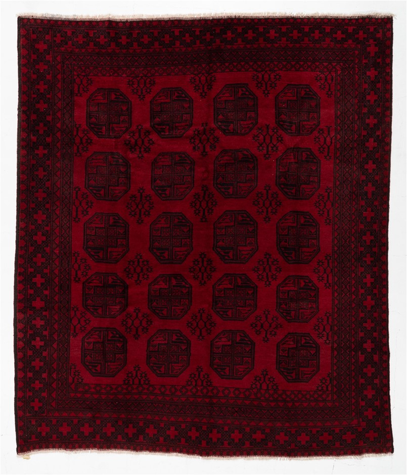 Afghan tekke Hand Knotted Pure Wool Pile Size (cm): 248 x 286