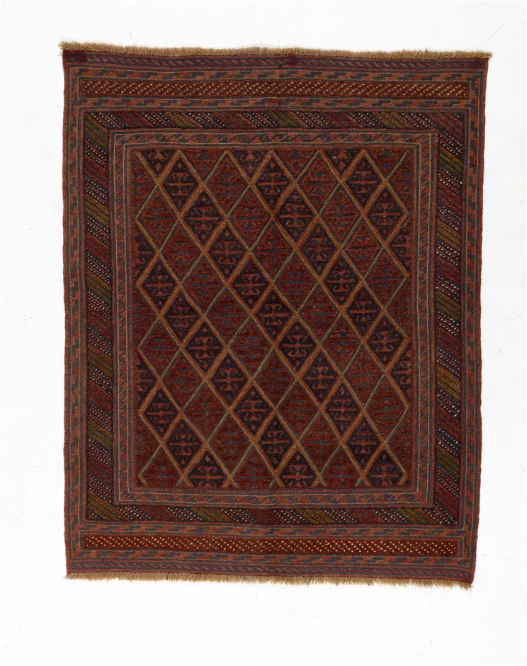 Afghan Meshwani Hand Knotted Mixed Weave 100% Wool Size (cm): 140 x 177