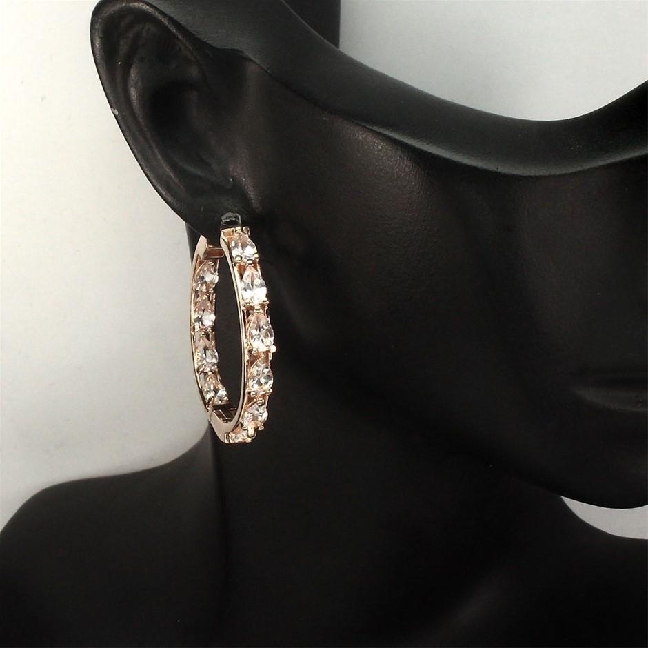 Beautiful Genuine Morganite Hoop Earrings