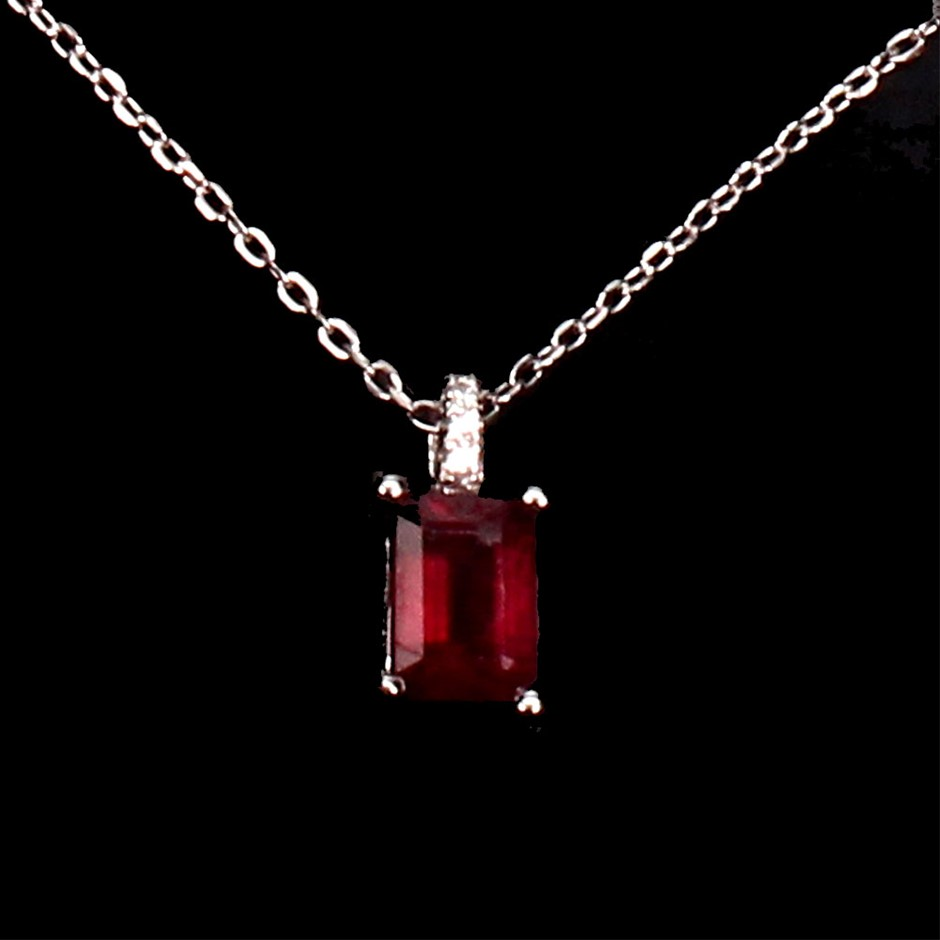 Genuine Blood Red Ruby Pendant & Chain.