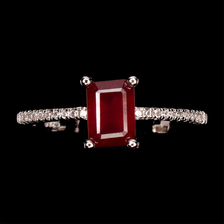 Genuine Blood Red Ruby Solitaire Ring