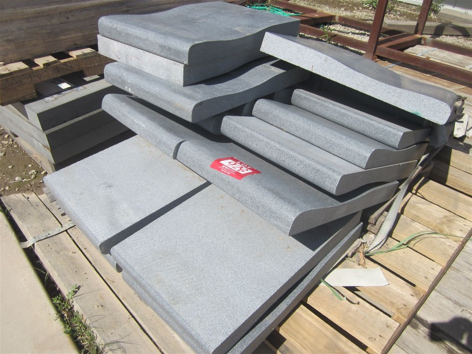 Pallet of 14 Curved Coping Basalt Pavers. 400mm x 600mm x 60mm