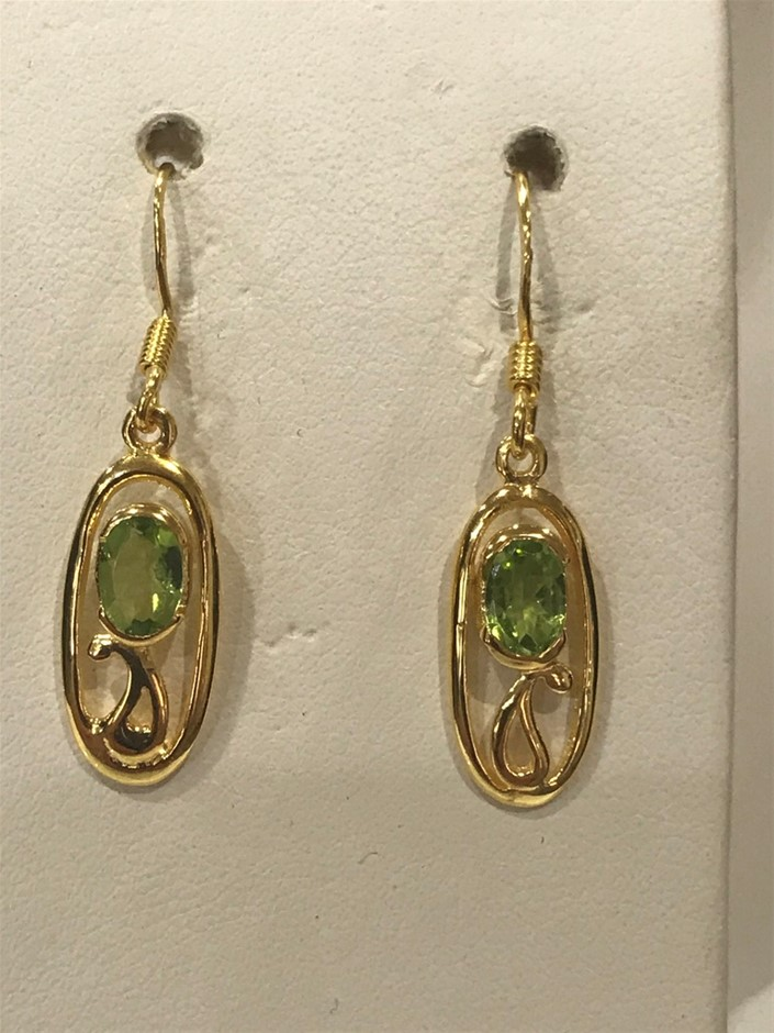 Stunning Genuine Peridot & 18K Gold Vermeil Drop Earrings