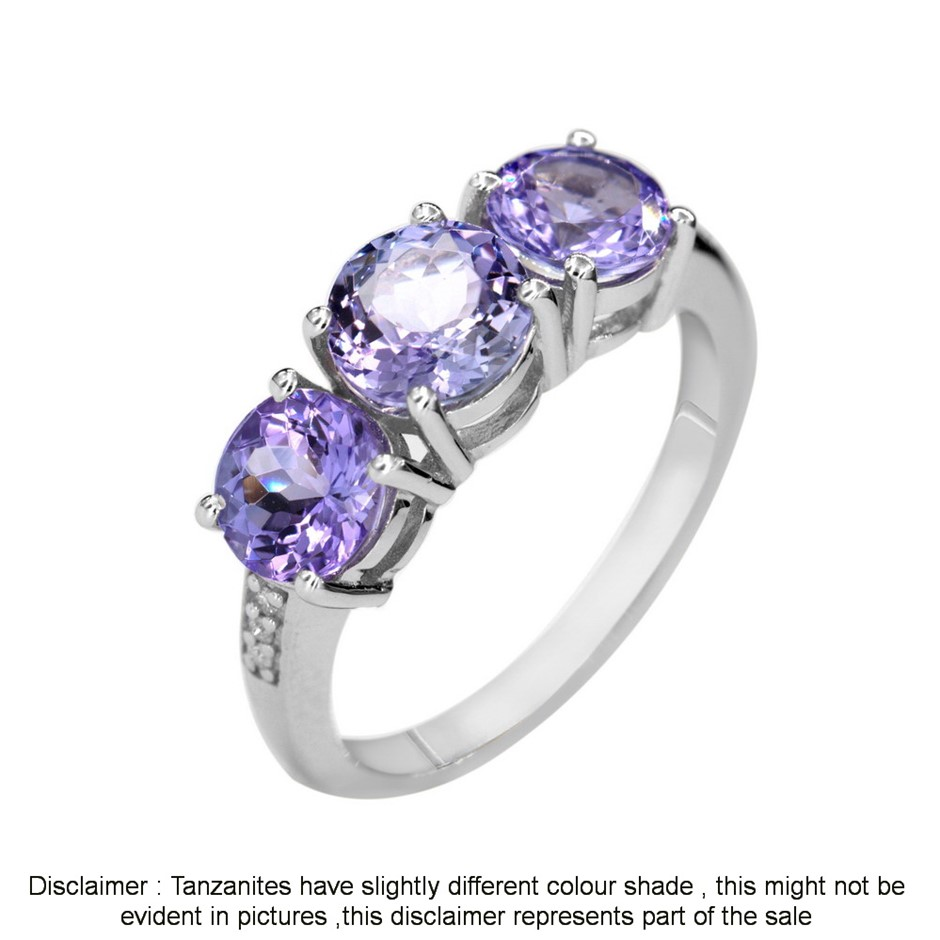 9ct White Gold, 2.81ct Tanzanite and Diamond Ring