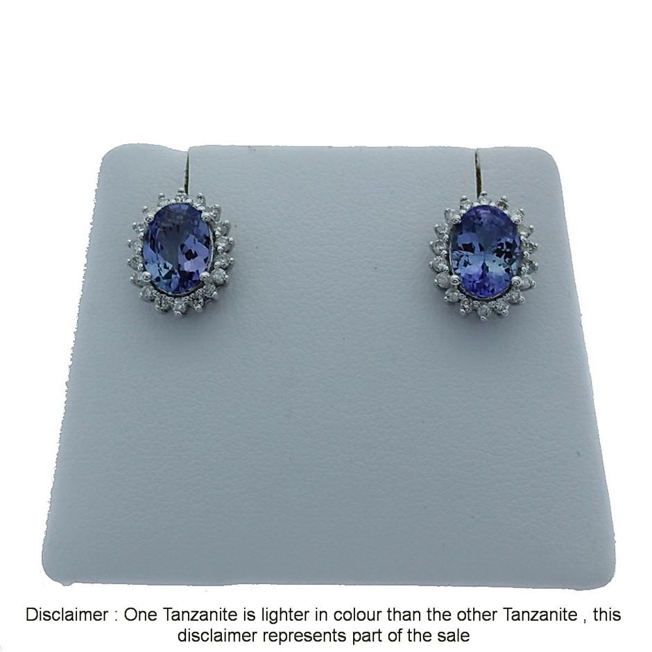 9ct White Gold, 2.55ct Tanzanite and Diamond Earring