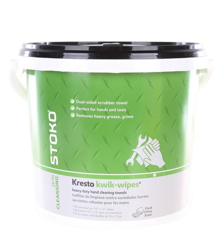 Bucket of 130 x STOKO Kresto Kwik-Wipes Heavy Duty Hand Cleaning Towels, Du
