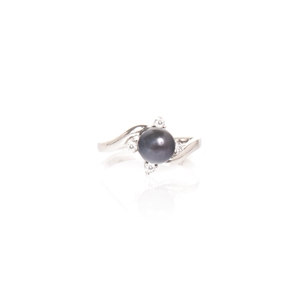 Black Pearl And Cubic Zirconia Sterling