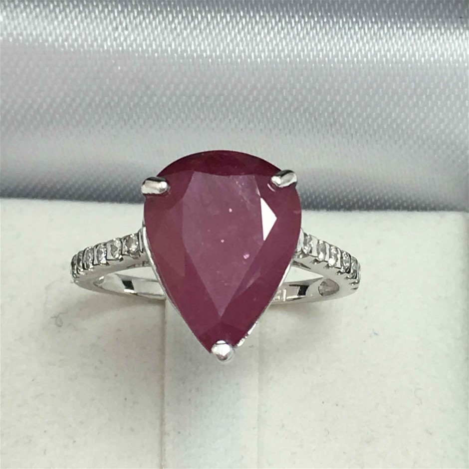 18ct White Gold, 5.52ct Ruby and Diamond Ring