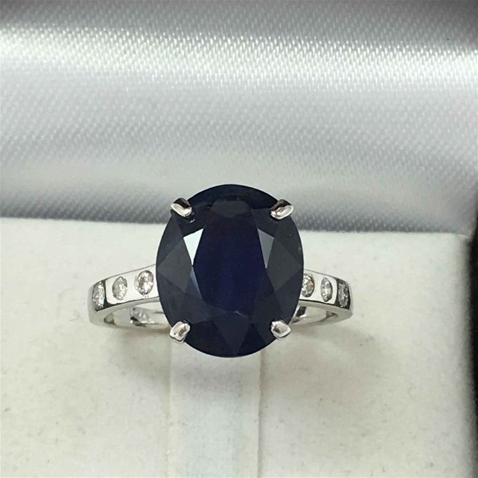 18ct White Gold, 5.38ct Blue Sapphire and Diamond Ring