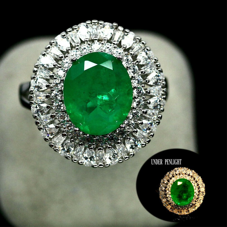 Devine Forest Green Doublet Emerald Ring. Size 'L'
