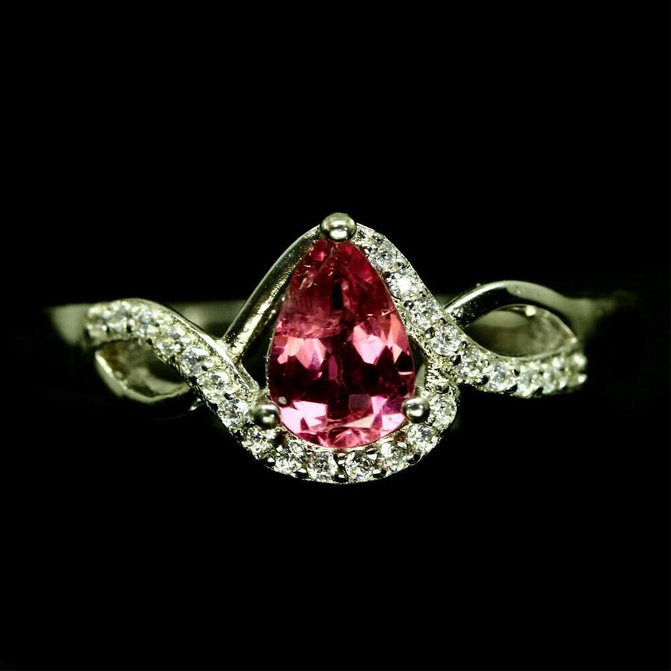 Superb Pink Pear Cut Tourmaline Ring (Size P)