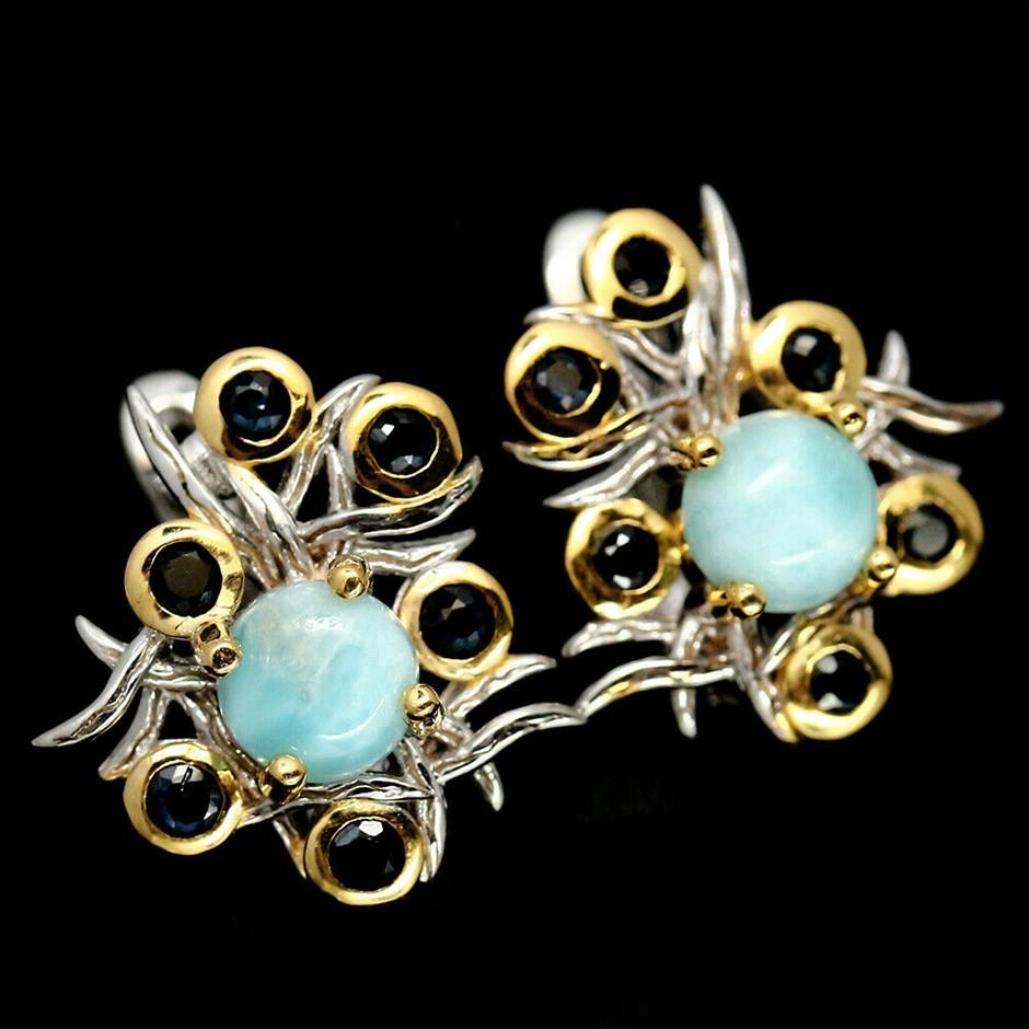 Delightful Blue Larimar & Sapphire Earrings
