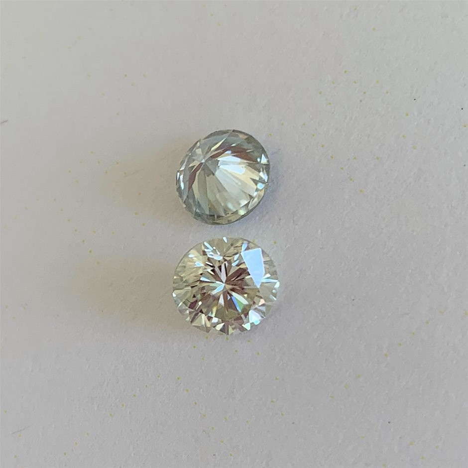 (2) Loose Synthetic Moissanite Off White Yellow Round Diamond Cut 0.87 CT