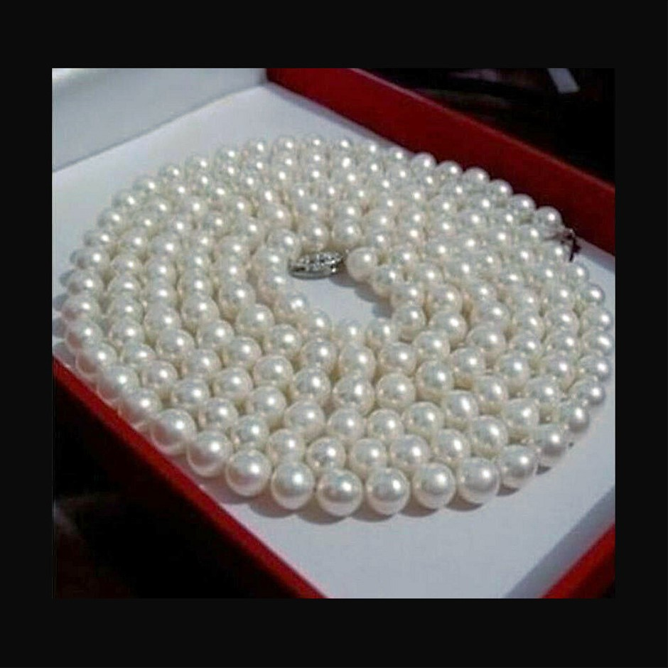 "6-7mm white Akoya CULTURED pearl necklace 50"" long"