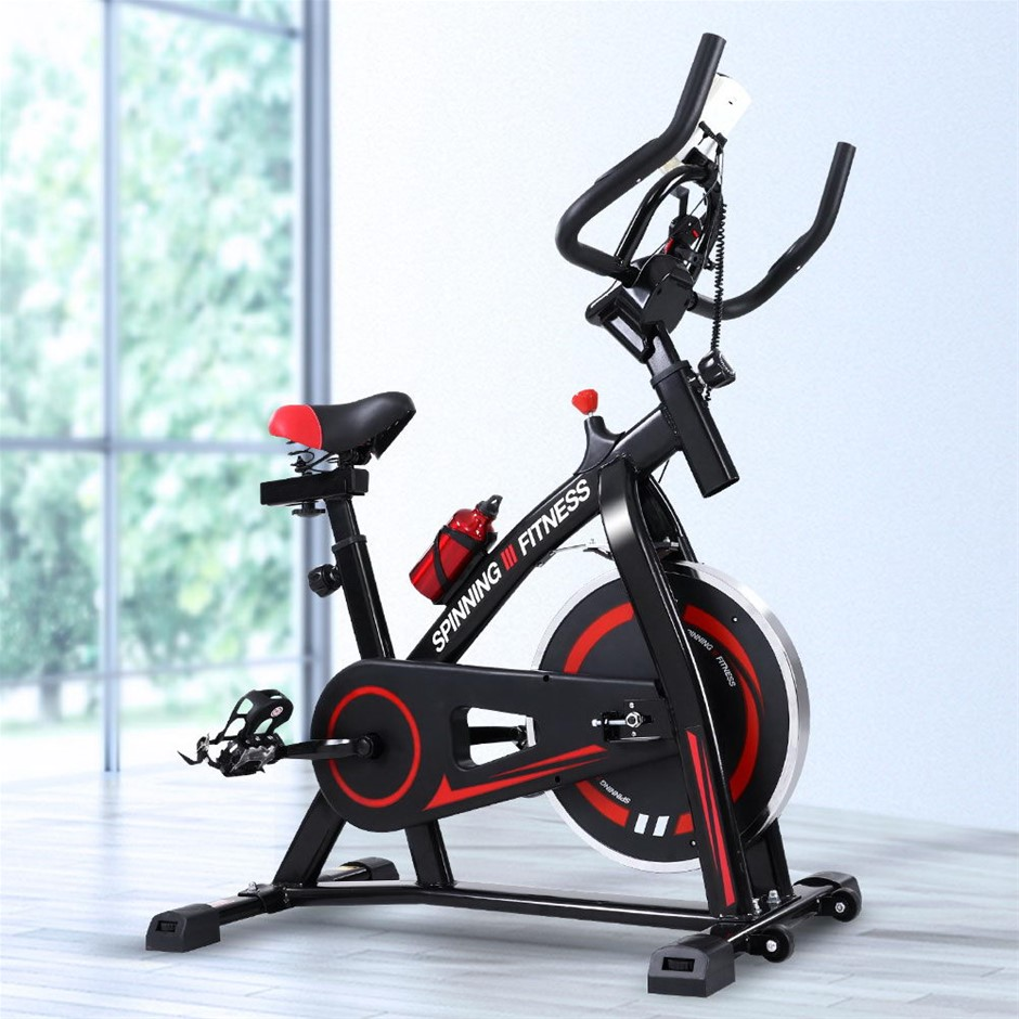 Spin Exercise Bike Fitness Home Workout Gym Machine Phone Holder Black
