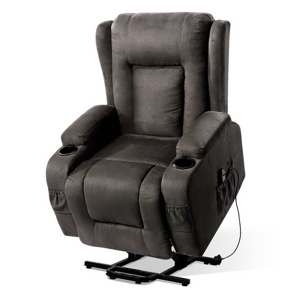 Artiss Electric Recliner Chair Lift Heated Massage Fabric Lounge Sofa