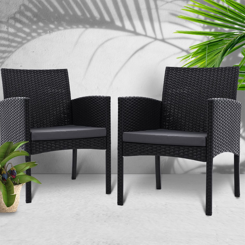 Gardeon Outdoor Bistro Chairs Patio Furniture Dining Chair Wicker Garden