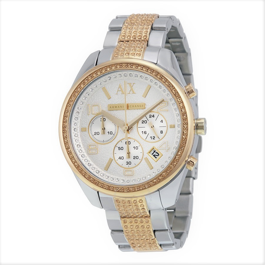 Gorgeous new Armani Exchange Crystal two-tone stainless steel unisex watch