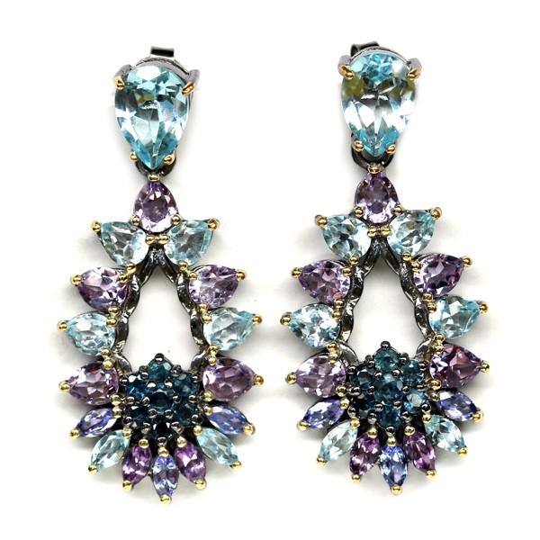 Genuine Sapphire, Amethyst & Topaz drop earrings.