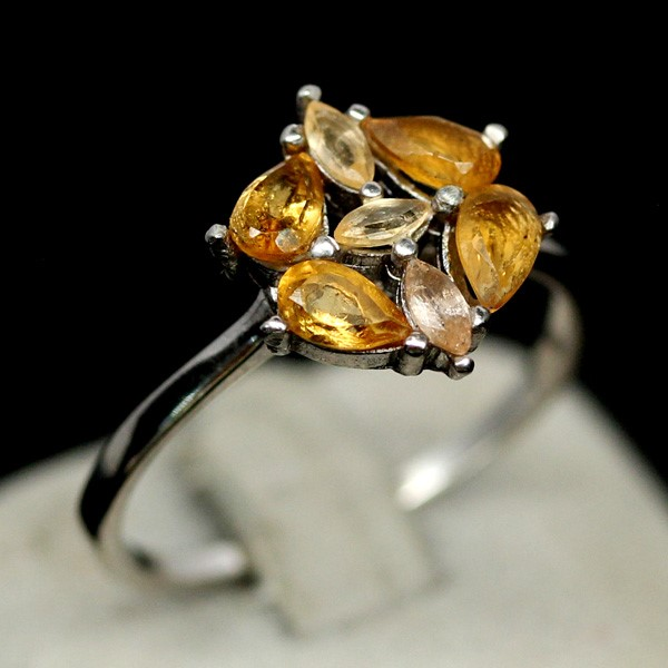 Genuine sapphire & Citrine ring.
