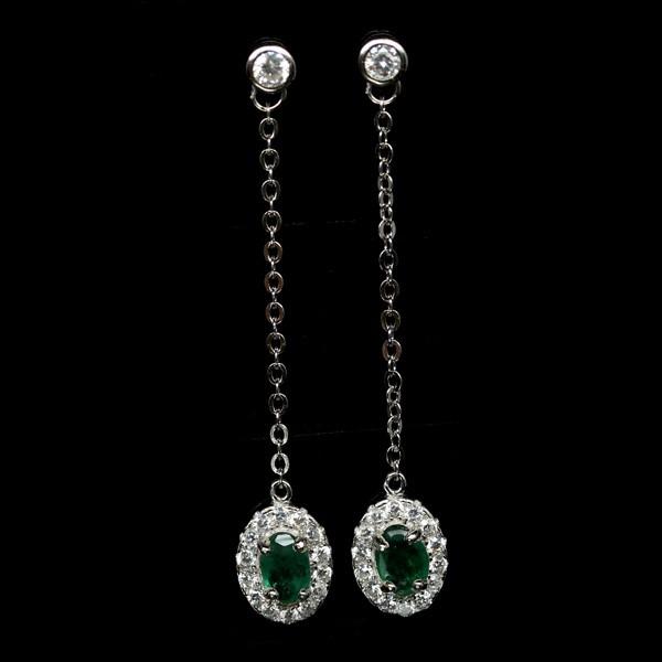 Beautiful Genuine Emerald Drop Earrings