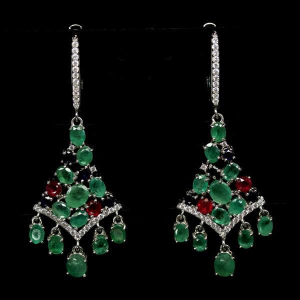 Beautiful Genuine Emerald, Sapphire & Ruby Cluster Drop earrings.