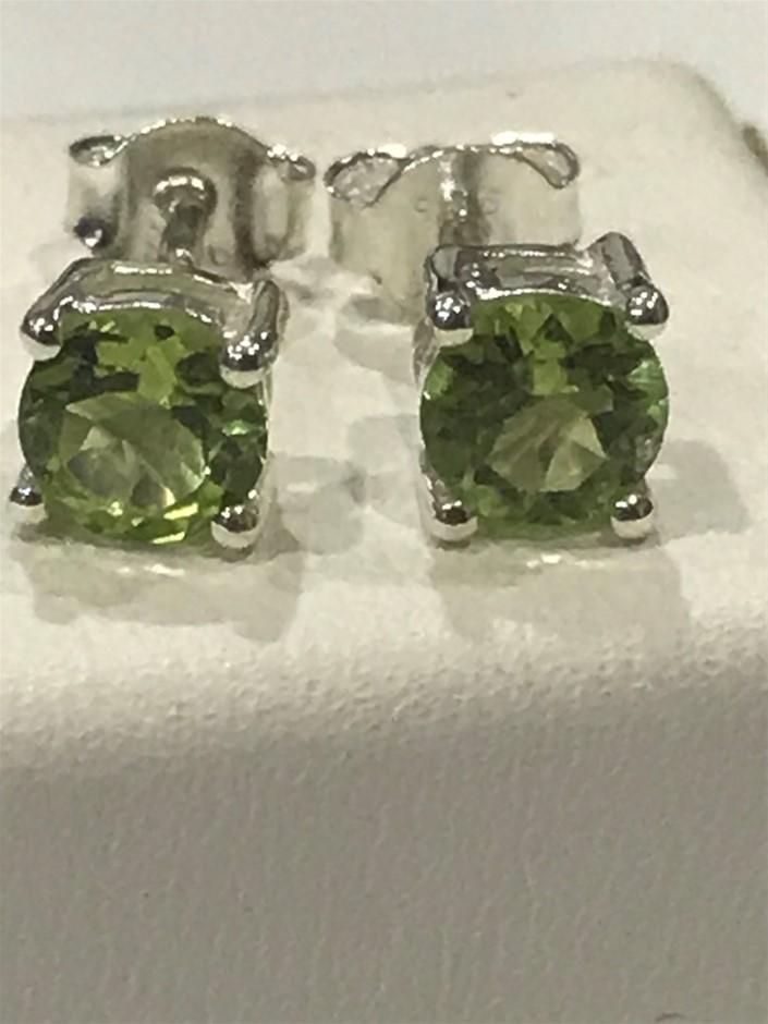 Stunning Genuine 1.20ct Peridot Stud Earrings