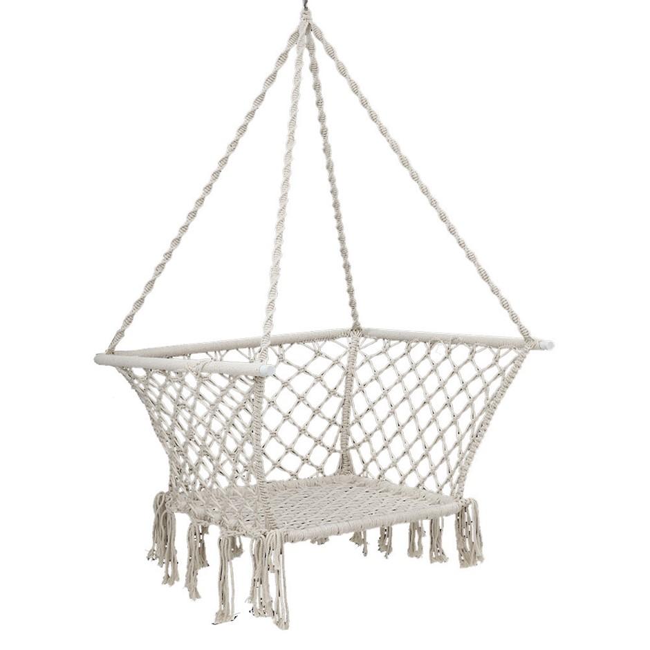 Gardeon Camping Hammock Chair Patio Swing Hammocks Portable Cotton Cream