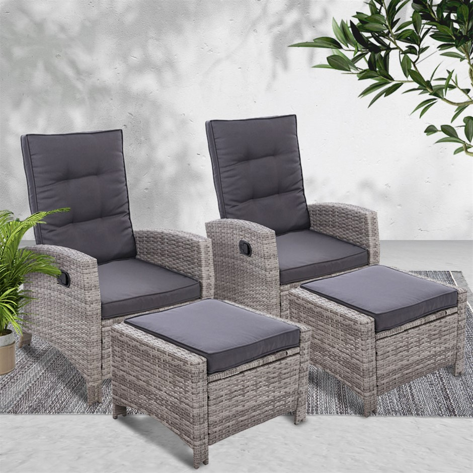 Gardeon 2PC Sun lounge Recliner Chair Wicker Outdoor Furniture Patio Garden