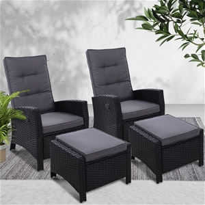 Gardeon Sun lounge Recliner Chair 2PC Wi