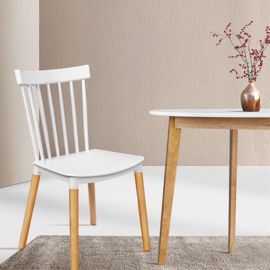 Artiss Dining Chairs Replica Chair White Retro Rubber Wood Cafe Seat X4