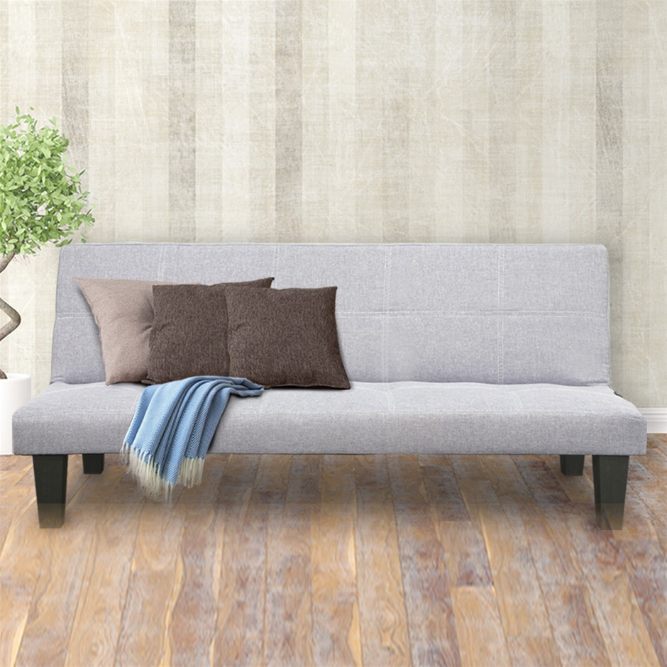 2 Seater Modular Linen Fabric Sofa Bed Couch - Light Grey