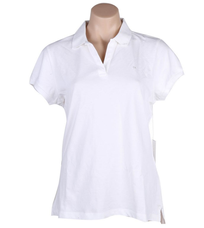 CALVIN KLEIN JEANS Women`s Cotton Polo Shirt, Size L, White. Buyers Note -