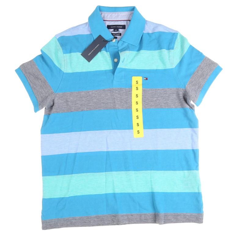 TOMMY HILFIGER Men`s Kelson Stripe Polo Shirt, Size S, 100% Cotton, Blue Ja