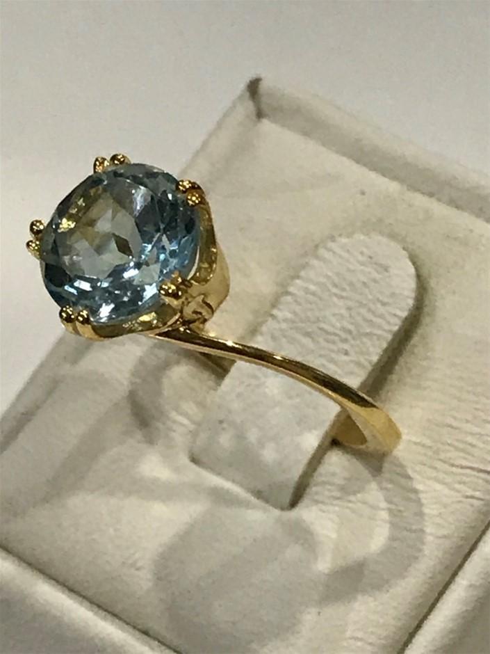 Brilliant 2.00ct BlueTopaz & 18K Gold Vermeil Ring. Size M (6 1/2)