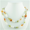 Natural Freshwater Pearl and red agate 120cm necklace