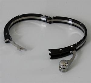 Stainless steel black handcuff bracelet