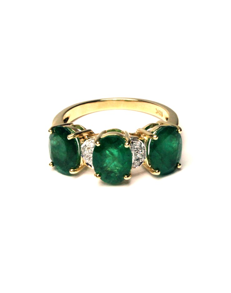 18ct Yellow Gold, 3.14ct Emerald and Diamond Ring Size M