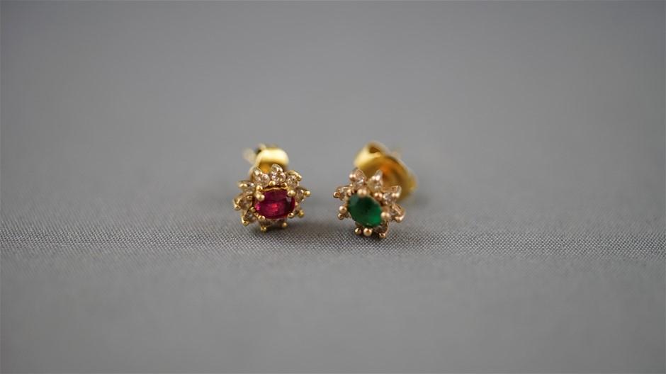 2 Yellow Gold Diamond Set Earrings