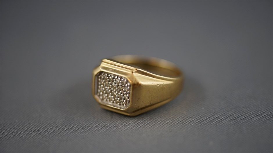 Stamped 9 Ct Yellow Gold/Diamond Encrusted Signet Ring