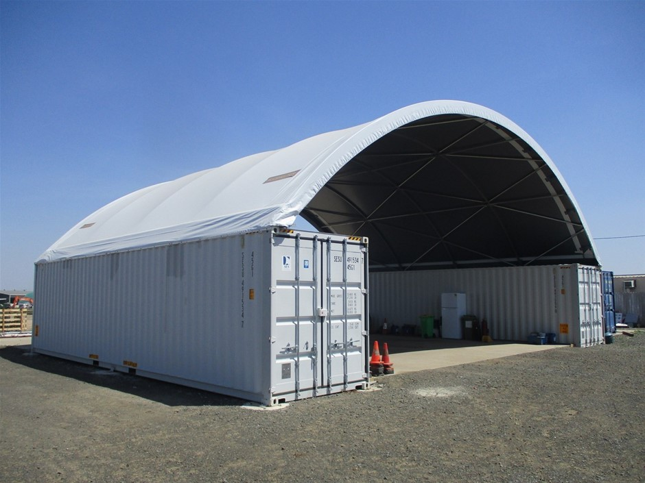 Dome Container Shelter with 2x 40' Shipping Containers