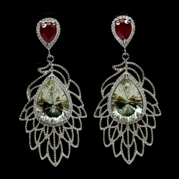 Spectacular Genuine Ruby & Green Amethyst Feather Drop Earrings