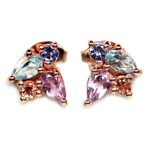 Beautiful Unique Genuine Tourmaline & Tanzanite Stud Earrings