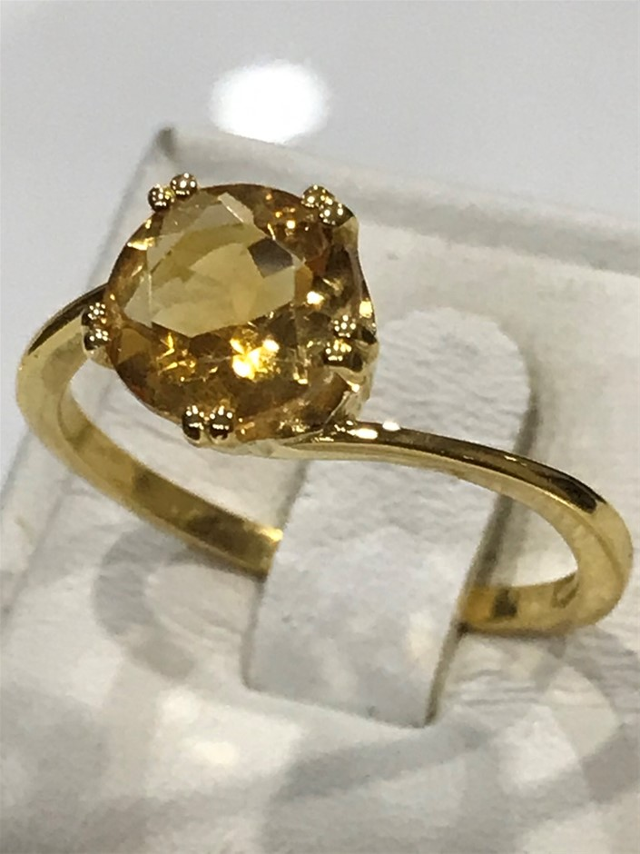 Brilliant 2.00ct Citrine & 18K Gold Vermeil Ring. Size P 1/2 (8)