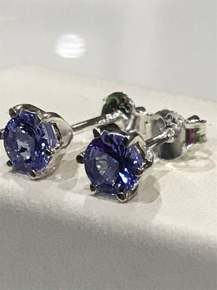 Glorious Tanzanite & 18K W/Gold Vermeil Stud Earrings
